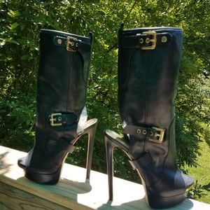 DSQUARED2  Stiletto Belted Boots Open Toe & Back